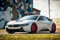 Картинка bmw, red, white, wheels, tuning, face, germany, vossen, street art, electro car