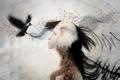 Картинка Девушка, птица, стиль