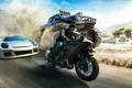 Картинка Мотоцикл, Небо, Машина, Горы, Песок, Авто, Пыль, Бигфут, Ubisoft, Ivory Tower, The Crew: Wild Run, ...