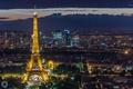 Картинка свет, город, огни, Франция, Париж, башня, дома, вечер, Эйфелева