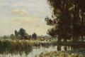 Картинка деревья, пейзаж, природа, картина, Эдуард Сиго, Ручей в Суффолке