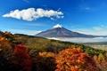 Картинка осень, небо, облака, деревья, холмы, Япония, долина, гора Фудзияма