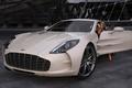 Картинка девушка, Aston Martin, графика, арт, One-77, элитный суперкар