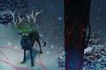 Картинка животное, alexiuss, снег, романтика апокалипсиса, арт, romantically apocalyptic, олень, дерево, радиация