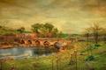 Картинка холст, краски, мост, текстура, природа, холмы, река