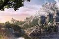 Картинка крепость, мост, горы, деревья, река, камни, замок