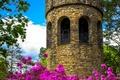 Картинка цветы, Башня, сад, арки, архитектура, flowers, garden, architecture, town