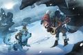 Картинка снег, зима, рюкзак, шапка, вьюга, зверек, рогатый, брынчалка, сосульки, мальчик
