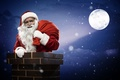 Картинка подарки, snow, Merry Christmas, full moon, fireplace, полная луна, Санта-Клаус, камин, снег, house, Счастливого Рождества, ...