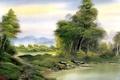 Картинка лес, вода, деревья, озеро, берег, картина, живопись, тропинка, Bob Ross, secluded lake