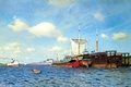 Картинка картина, лодка, корабли, свежий ветер, небо, живопись, вода, чайки, Левитан Исаак, река, облака, парус