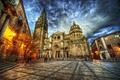 Картинка улица, HDR, площадь, фонари, храм, Испания, Spain, Catedral, Temples