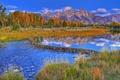 Картинка осень, лес, небо, горы, река, плотина