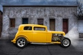Картинка ретро, улица, classic car, классика, желтый, hot-rod