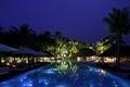 Картинка пальмы, ночь, курорт, бассейн