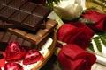 Картинка капли воды, Шоколад, розы, поднос