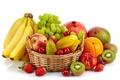 Картинка вишня, ягоды, корзина, яблоки, апельсин, киви, клубника, виноград, бананы, белый фон, груша, фрукты, гранат