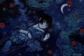 Картинка Девушка, кимоно, глаза, вода, отражение, месяц