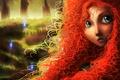 Картинка веснушки, арт, рыжая, лицо, brave, огни, кудри, девушка, merida, лес