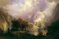 Картинка водопад, картина, озеро, Пейзаж Скалистых Гор, Альберт Бирштадт