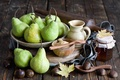 Картинка каштаны, баночка, листья, натюрморт, фрукты, Anna Verdina, мед, груши, осень