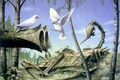 Картинка Rodney matthews, peace at last, лес, оружие, голуби, тишина, мир