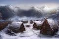 Картинка Michael Davini, поселение, деревня, снег, арт, дома, викинги