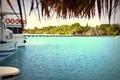 Картинка лагуна, пальмы, Мальдивы, причал