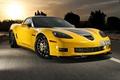 Картинка yellow, grand sport, corvette, гранд спорт, жёлтый, шевролле, chevrolet, корветт, закат