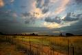 Картинка Забор, пустырь, облака, вечер