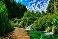 Картинка природа, мостик, река, пейзаж, лес