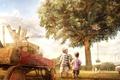 Картинка Дерево, дети, дом, тележка