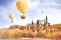 Картинка сюрреализм, полёт, арт, деревья, город, Tytus Brzozowski, рисунок, чайники, набережная