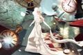Картинка часы, арт, размытие, девушка, Dreams:Running Late, фантазия, Nadja Baxter, платье
