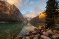 Картинка озеро, восход, утро, Канада, национальный парк, Банф, ледниковое, Луиз