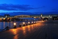 Картинка огни, мост, Москва, набережная, ночной город, Москва-река