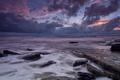 Картинка тучи, берег, море, Великобритания, вечер, облака, Уэльс, небо, камни, закат