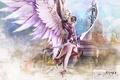Картинка оружие, замок, Девушка, крылья, Игры, Обои, Wallpapers, AION