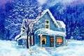 Картинка рисунок, дом, снег, зима