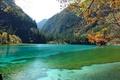 Картинка осень, лес, листья, деревья, горы, ветки, озеро, парк, Китай, Jiuzhaigou National Park