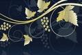 Картинка ягоды, стилизация, Grapes, стебли, виноград, листья