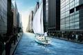Картинка Город, здания, канал, яхта