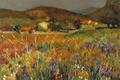 Картинка картина, горы, дома, деревья, Поле цветов в Провансе, Марсель Диф, луг, пейзаж