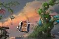 Картинка в небе, арт, деревья, станция, Vijoi Daniel Iulian, фантастика, облака, транспорт
