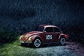 Картинка vintage, red, volkswagen, beetle, дождь, жук, car, duff