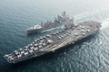 Картинка оружие, флот, армия, replenishment oiler USNS Pecos (T-AO 197), Aircraft carrier USS Harry S. Truman ...