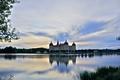 Картинка озеро, вечер, Морицбург, небо, Германия, деревья, замок