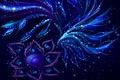 Картинка синее, абстракция, лепестки, цветок, узоры