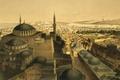 Картинка картина, минарет, мечеть, панорама, город, Собор Святой Софии, Стамбул, Турция, Айия-Софья