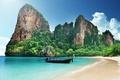 Картинка beach, ocean, island, sand, paradise, boat, tropical, travel